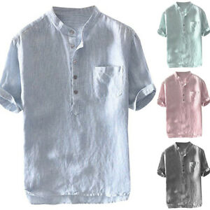 Herren Stehkragen T-Shirt Freizeithemden Hemd Baggy Shirt Kurzarmshirt Oberteile