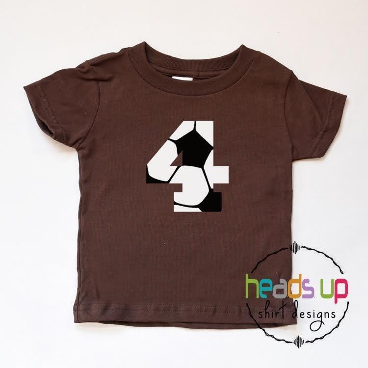 Soccer 4 Shirt Kids Birthday Four tshirt Toddler 4th Bday Tee Sports Trendy Gift