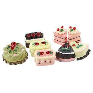 8stk-Puppenhaus-Miniature-1-12-Kuchen-Dessert-Modell-Essen-Baeckerei-Obst-Dekor