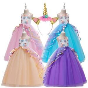 Details About 2019 Vestidos Niñas Chicas Princesa Unicornio Para Fiesta Cumpleaños Sin Mangas