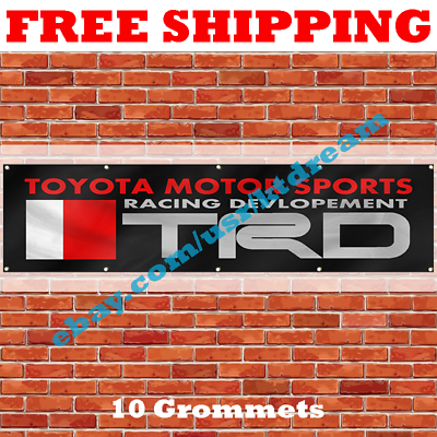 TRD Banner Flag 2X8Ft Toyota Racing Development Banner Motor Sports Car Garage