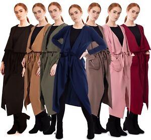 Womens Ladies Maxi Long Sleeve Waterfall Pocket Belted Duster Coat Jacket