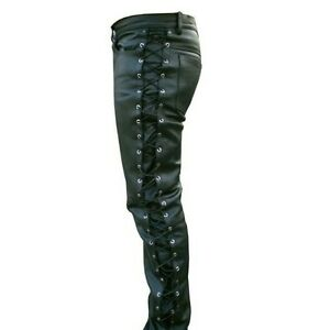 Men-039-s-Thick-Cow-Leather-Side-Laces-Jeans-Model-Pant-New-All-Sizes