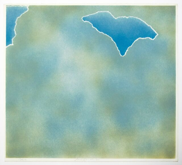 Joe Goode: Torn Clouds-Aqua,1971. Signed, Numbered, Color, Fine Art Print.