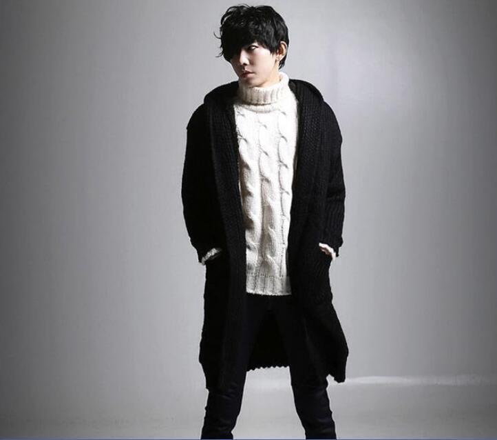 Fashion leisure Men Long Hoodie Sweater Cable Knit Jumper Coat Fleece Fur Lined