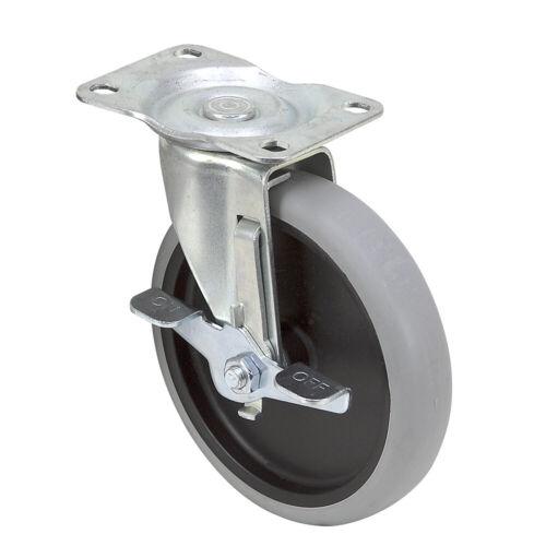 "5/"" x 15//16/"" Swivel Plate Caster w//Brake 1-5244"