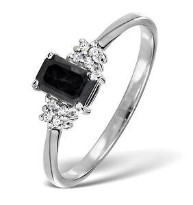 Zafiro-Y-Diamantes-Anillo-De-Boda-Corte-Esmeralda-Oro-Blanco-Talla-F-Z