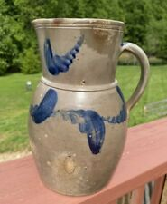 Antique Cobalt Decorated Salt Glazed Stoneware Pitcher
