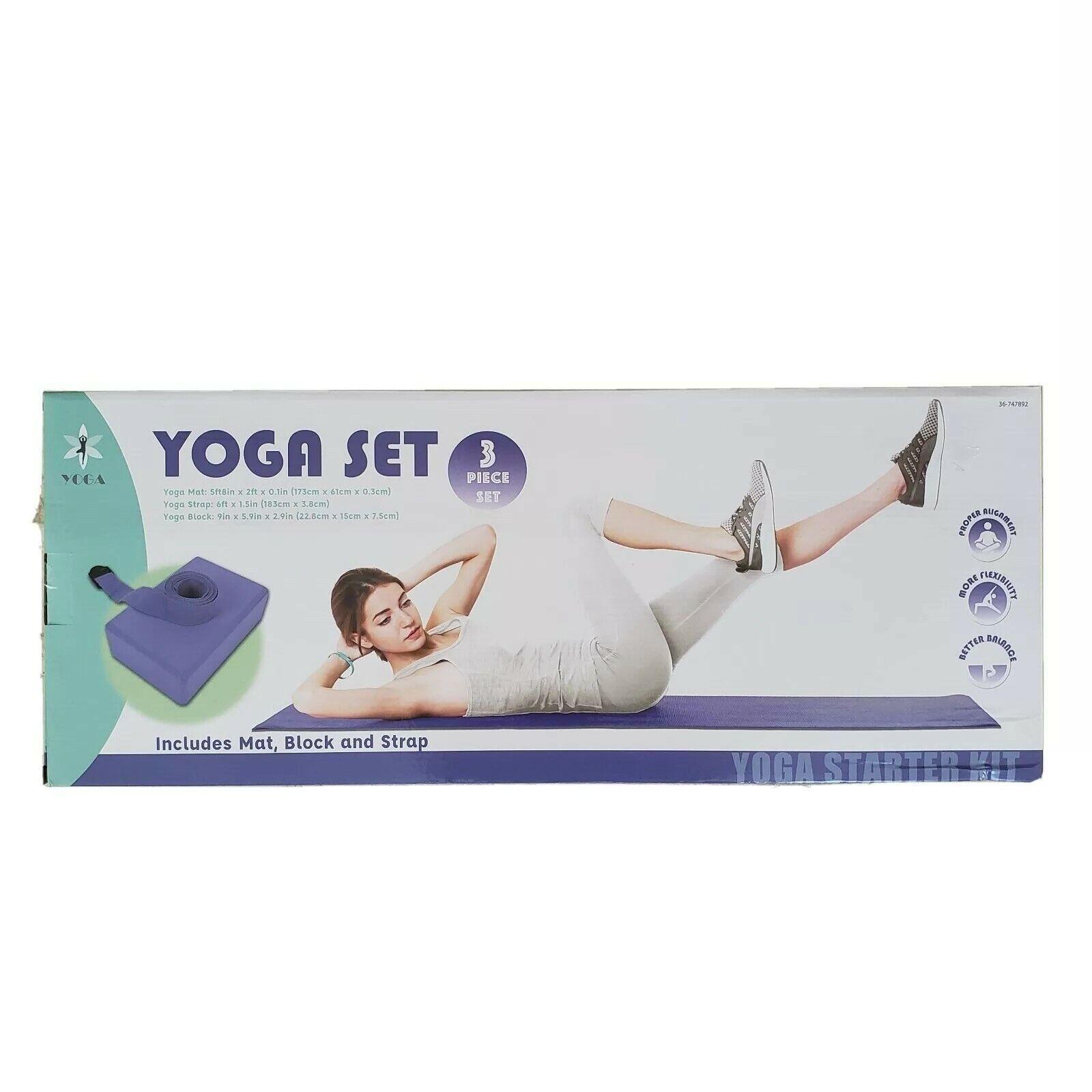 (2) Beginners Yoga Starter Kits (Yoga Mat, Yoga Block, Yoga Strap) 3 Piece Set.
