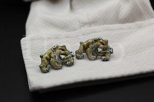 Custom-Made-New-Cufflinks-Handmade-Bulldog-French-Marine-Corps-USMC-Dog-Brown