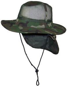 792c5999da8bab Summer Wide Brim Mesh Safari/Outback Hat W/Neck Flap #982 Camo M ...