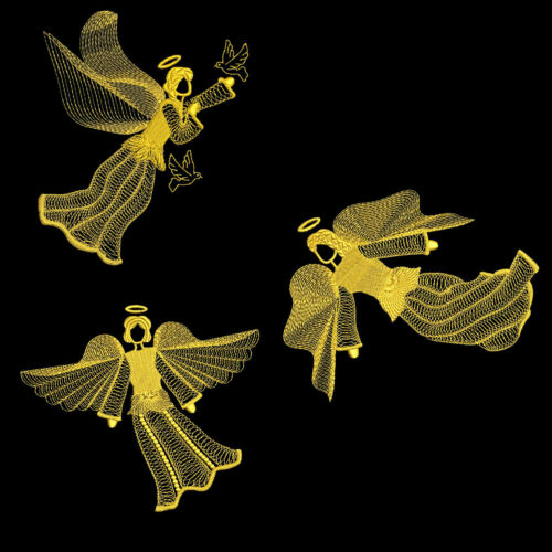 FREE SHIPPING 5 inch GOLDEN ANGELS 10 Machine Embroidery Designs CD
