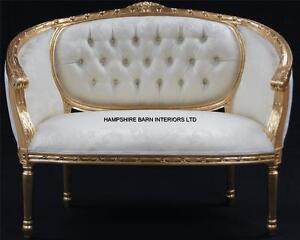 Double Ended Gold Amp Ivory French Louis Ornate Chaise