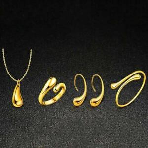 1Set-Frauen-Wassertropfen-Schmuck-Set-Halskette-Armband-Ohrringe-Ring-Neu