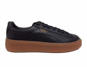 07758bad01f PUMA Women s BASKET PLATFORM CORE Leather Shoes Black Gum 364040-02 ...
