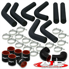 8 Piece 3 Black Intercooler Piping Kit T Bolt Clamps Blk Silicone Couplers