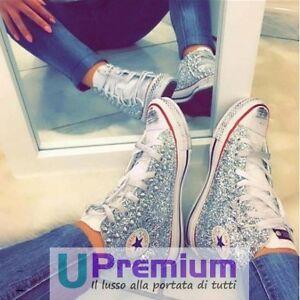 Converse All Star Bianche Glitter Premium Scarpe Borchiate ORIGINALI 100% ITAL