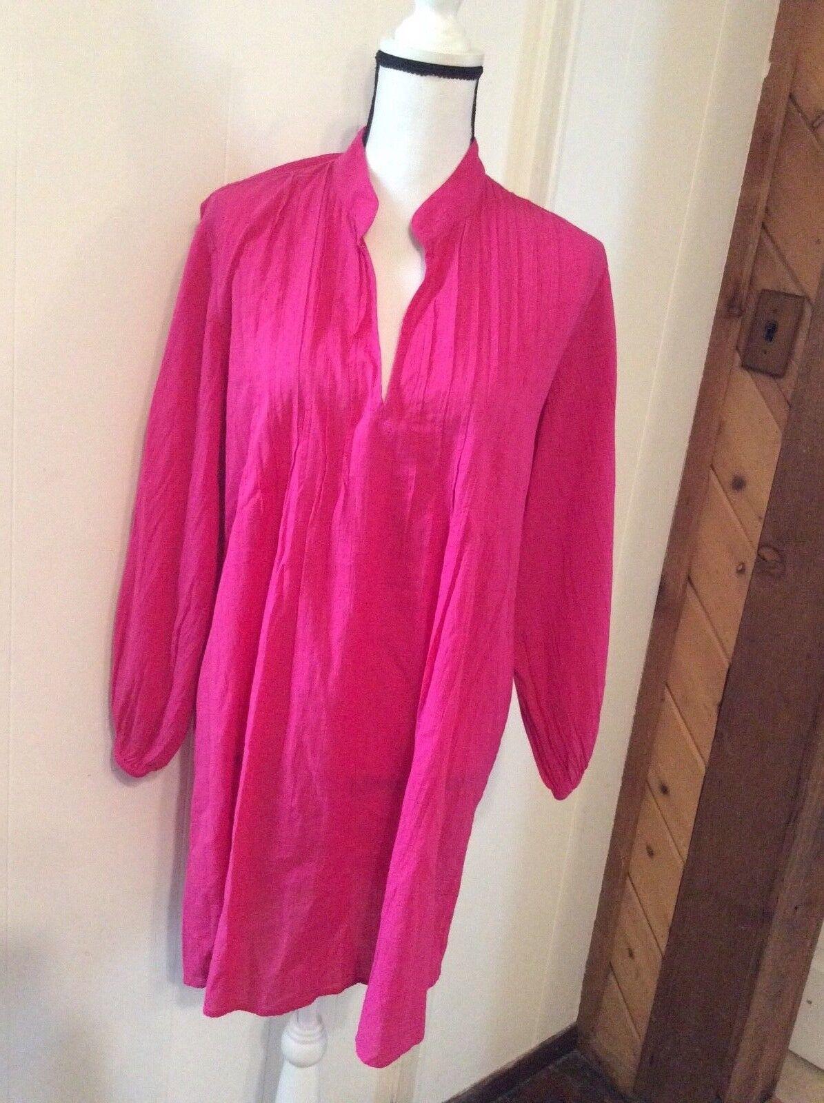 LAUREN Ralph Lauren Fuchsia Pink Lightweight Cotton Cover up DRESS Pull on M