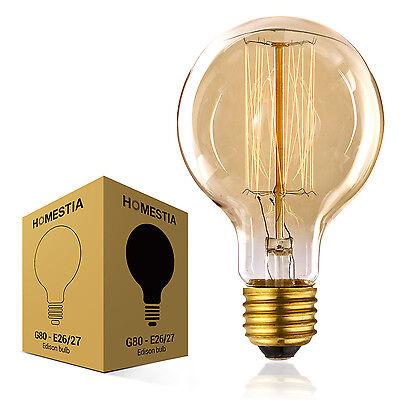 Retro Globe Glühbirne 40W G80 E27 Vielfachwendel Glühlampe 80mm Mega Edison