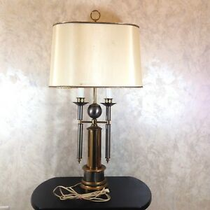 """Vintage Mid Century Style Bouillotte Lamp Oval Shade Brass Silver Metal 36"""" Tall"""