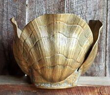 Hollywood Regency Midcentury Modern Brass Scallop Sea Shell Pot Planter HOUSMAN