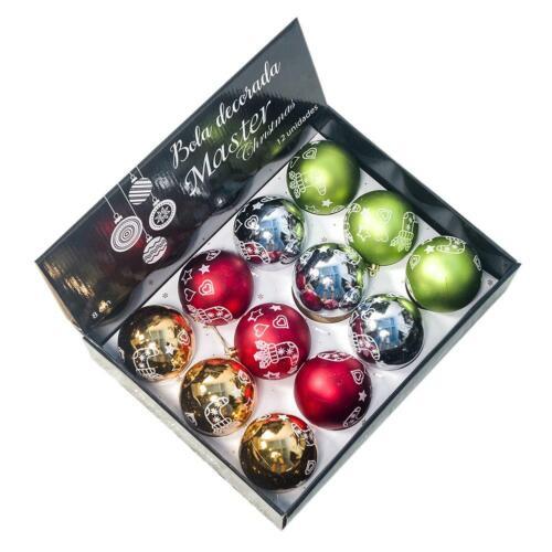 12pcs Christmas Tree Decoration Ball Pendants Baubles Print New Year Home Decor
