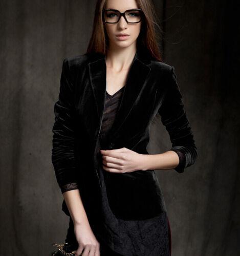 Womens Europe Skinny Slim Fit Gold velvet blazer Blouses coats short jacket Hot