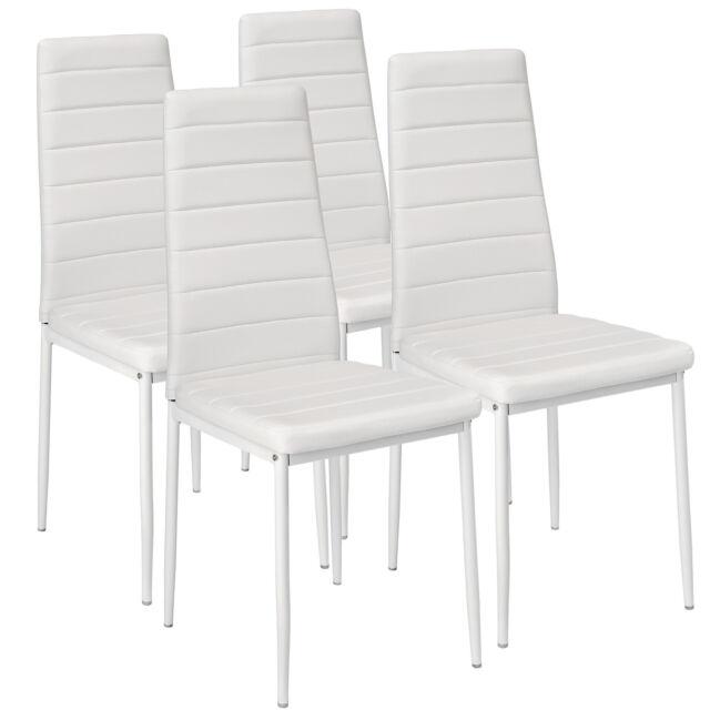 4x Sillas de comedor Juego elegantes sillas de diseño modernas cocina blanco NUE