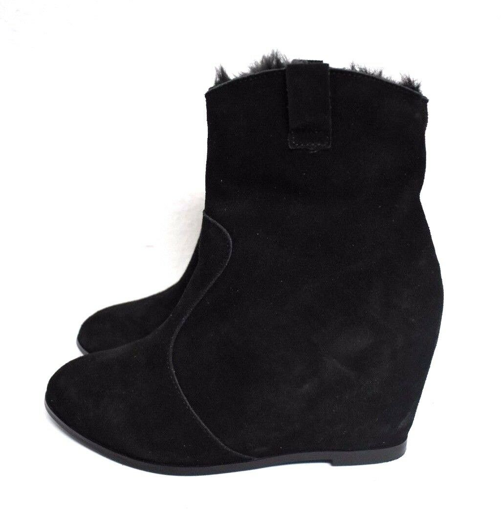 New Catherine Malandrino Women's Black Suede Wedge Ankle Boots Booties Size 7
