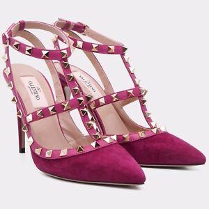 VALENTINO-995-Camelia-Suede-Rockstud-Ankle-Strap-High-Heel-Pumps