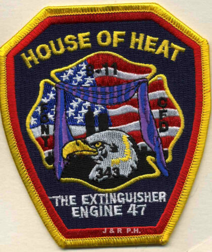 """4/"""" x 4.5/"""" size Illinois fire patch Chicago  Engine-47  /""""The Extinguisher/"""""""