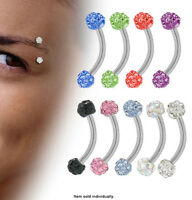 Surgical Steel Curved Eyebrow Ring With Cz Gems - N80300