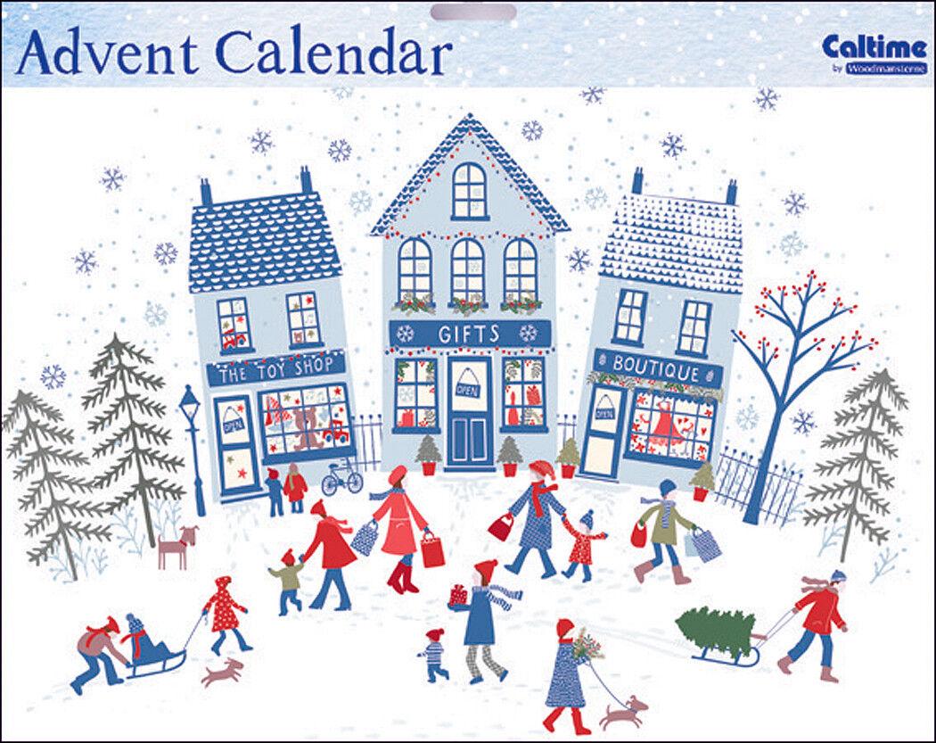 Christmas Shopper Snow and Sledges Advent Calendar Caltime 350 x 245 mm glitter