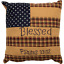 PATRIOTIC-PATCH-BLESSED-Pillow-Flag-Americana-Psalms-Red-Khaki-Navy-10x10-VHC thumbnail 1