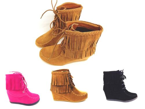 Girls Youth Round Toe Lace Up Fringe Braid Moccasin Wedge Ankle Boot New