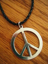 PEACE SIGN Silver Pewter Pendant Leather Necklace CORD