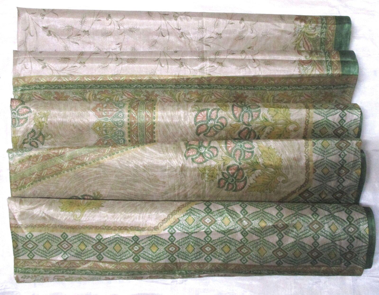 WEARABLE SILK BLEND ANTIQUE VINTAGE SARI SAREE 5 YD A1 335 Green Khaki #ABHVO