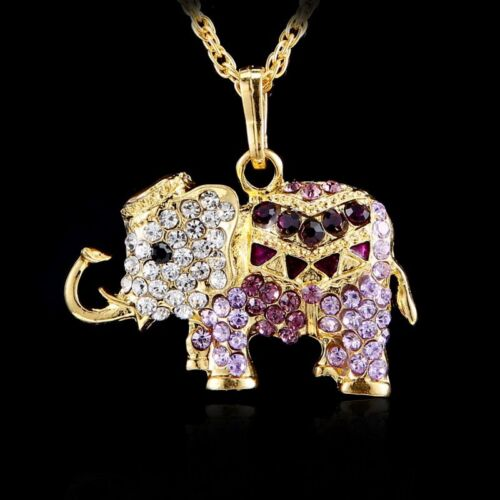 New 3D Elephant Crystal Rhinestone Pendant Long Necklace Gold Tone Sweater Chain