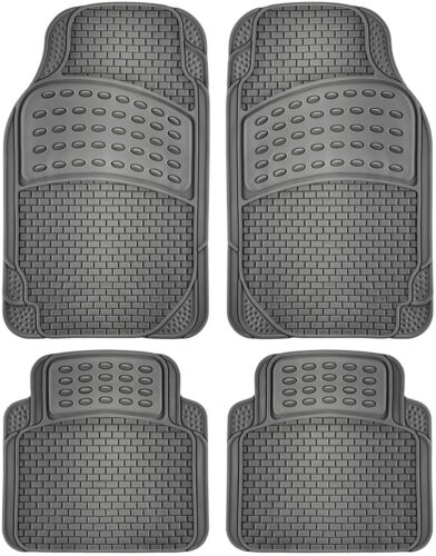 "4pc Gray All Weather OxGord Heavy Duty Rubber /""Seashell/"" Auto Floor Mats"