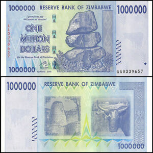 Image Is Loading 1 Million Zimbabwe Dollar Uncirculated Money Currency 10