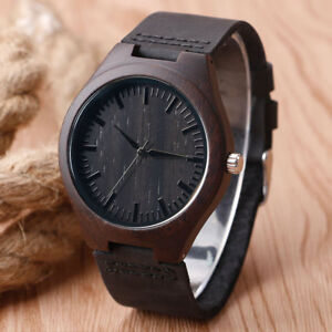 Casual-Nature-Wood-Bamboo-Round-PU-Leather-Band-Strap-Men-Quartz-Wrist-Watch