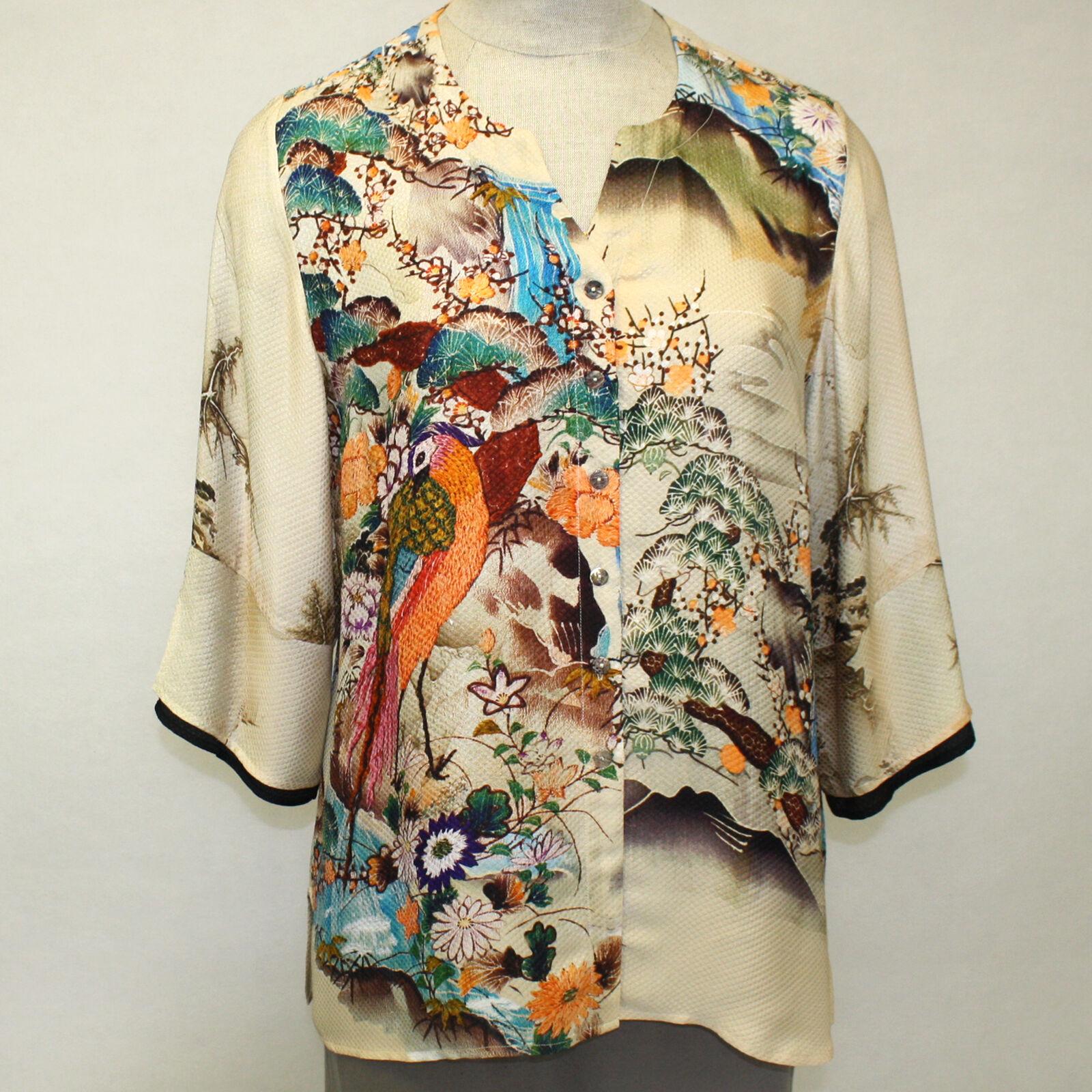 Citron Clothing 100% Silk Art To Wear Birds Paradise Fukure Art Blouse Plus 2X
