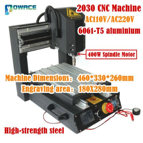 High Strength Steel 3 Axis 400W DC 2030 Desktop CNC Engraver Machine 110V//220V