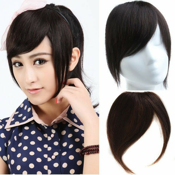Women's Inclined Fringe 100% Virgin Human Hair Front Bang Clip In Hair Extension