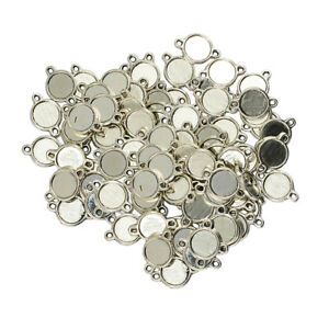 100pcs 10mm Double Sided Round Cameo Cabochon Pendant Setting Blanks Tray