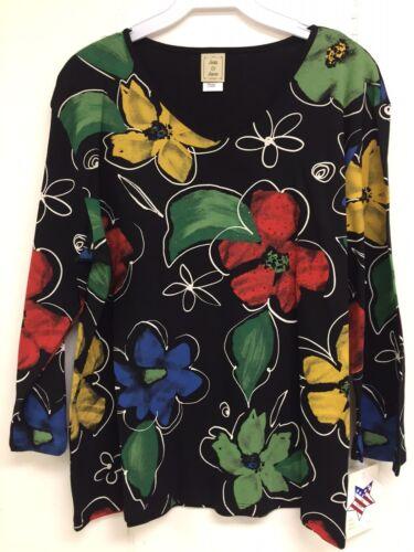 Jess and Jane Vitacolor Vita Color Floral Flowers Multicolor Black Shirt Size