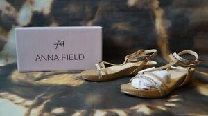 Details about Anna Field Beige Mid Heel Wedge T Bar Sandals UK 6 EUR 39 New
