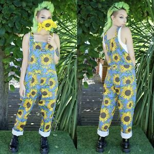 Run and Fly Sunflower Print Dungarees in Stretch Twill Cotton XXXS-XXL Overalls