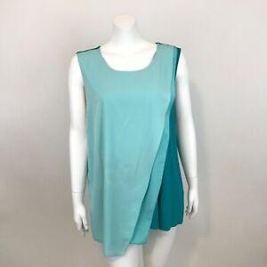 Alfani-Colorblock-Sleeveless-Knit-Tunic-Top-Womens-2XL-Slanted-Front-Layers