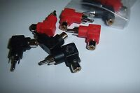 (4) Rca Right Angle 90 Degree Adapters Red/black Car Audio Video Input Metra